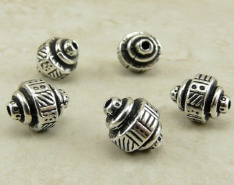 5 TierraCast Abstract Ethnic Barrel Beads - Silver Plated Lead Free Pewter - I ship Internationally