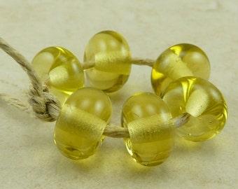 6 Transparent Lemon Drops  Yellow Lampwork Spacer Beads - Lampwork Spacer Bead Set - SRA - I ship Internationally