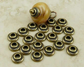 20 TierraCast 7mm Classic Large Hole Bead Caps > Tierra Cast Brass Ox Plated LEAD FREE pewter - I ship internationally - 5721