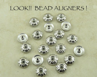 20 TierraCast 8mm Hammertone Bead Aligner Bead Caps - Rhodium Plated Lead Free Pewter - I ship Internationally 5712