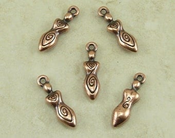 5 TierraCast Spiral Goddess Charms > Devine Feminine Mother - Copper Plated LEAD FREE Pewter - I ship Internationally 2163