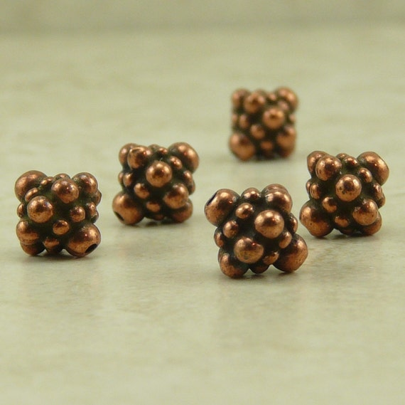 5 TierraCast Pamada Bicone Bali Style Beads -  Copper Plated Lead Free Pewter - I ship internationally 5677