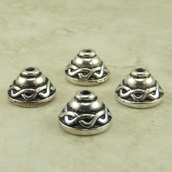 4 TierraCast 8mm Celtic Knot Bead Caps > Irish St Patricks Day Ireland - Silver Plated Lead Free Pewter - I ship Internationally 5503