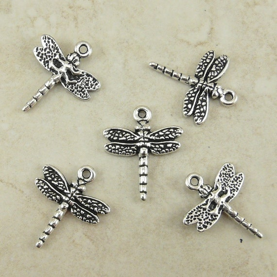 5 TierraCast Dragonfly Dragon Fly Charms > Insect Bug Garden Pond Lake River - Silver Plated Lead Free Pewter - I ship Internationally 2119