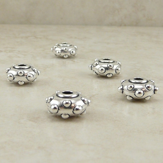 5 TierraCast 10mm Rivet Beads - Industrial Steampunk Large Hole - Silver Plated Lead Free Pewter - I ship Internationally 5745