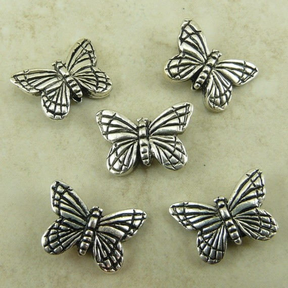 5 TierraCast Monarch Butterfly Beads > Silver Plated Lead Free Pewter - I ship Internationally 5520