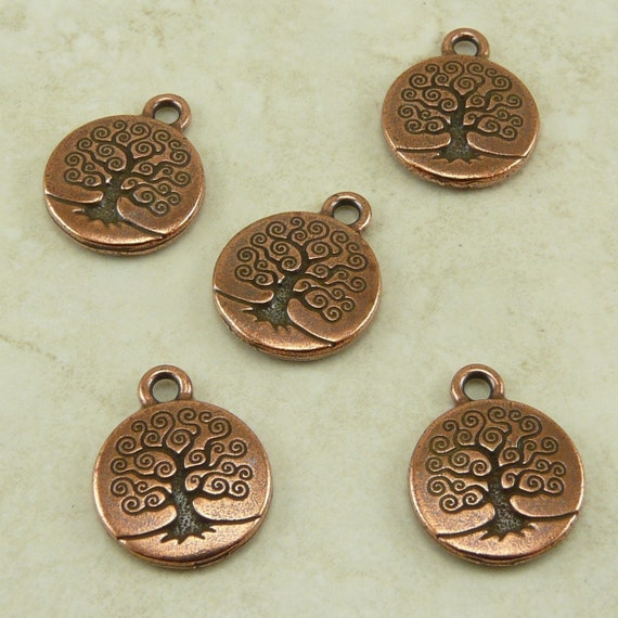 5 TierraCast Tree of Life Charms > Bodhi Zen Mother Earth Buddhist - Copper plated Lead Free Pewter - I ship Internationally 2303