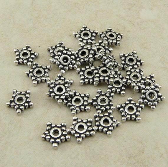 25 TierraCast 5mm Beaded Star Heishi Spacer Beads > Tierra Cast Fine Silver Plated Lead Free Pewter - I ship internationally 0416