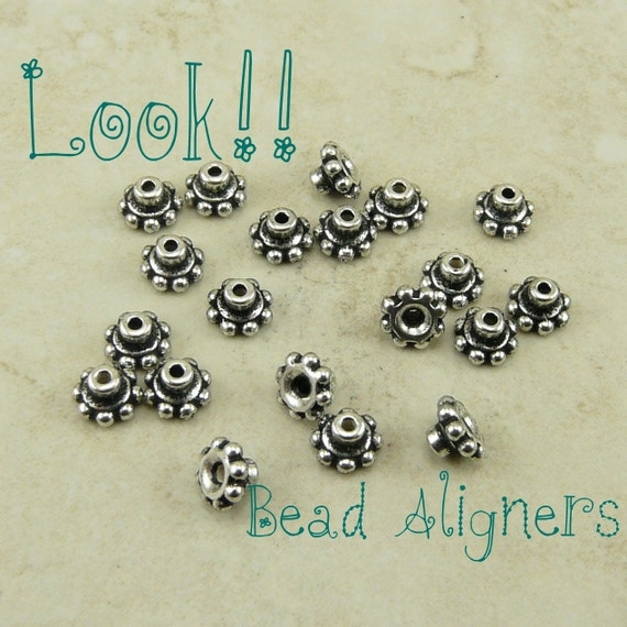 20 TierraCast 6mm Beaded Daisy Bead Aligner Bead Caps * Fine Silver Plated Lead Free Pewter - I ship Internationally 5692