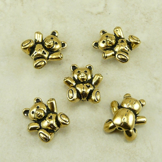 5 TierraCast Teddy Bear Beads > StuffedAnimal Plushie Ted -  22kt Gold Plated Lead Free Pewter - I ship Internationally 5683