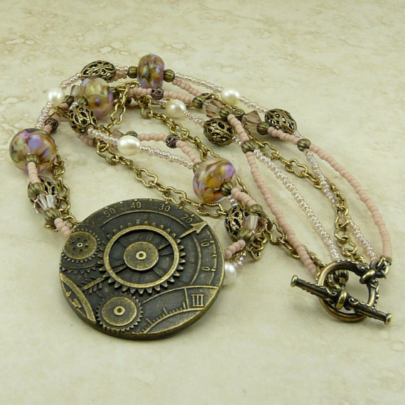 Gears of Time - Steam Punk Lampwork Brass beaded necklace - Time Travel Doctor Who Themed Steampunk Pink Rose Lavender Victorian - SRA