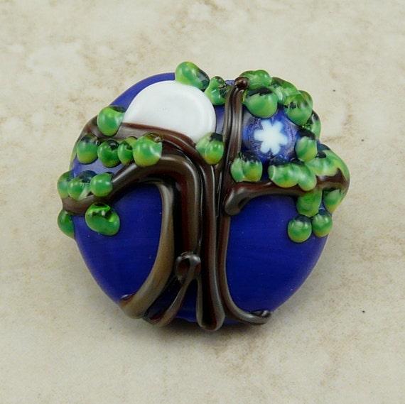 Full Moon and Star Tree of Life - Lampwork Focal Bead  - SRA - I ship Internationally