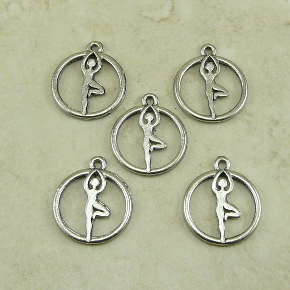 5 Tree Yoga Pose charms > Meditation Thai Chi Zen Serenity Exercise Work Out Raw American Made Lead Free Silver Pewter Ship Internationally