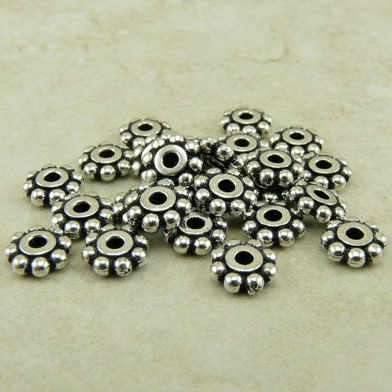 25 TierraCast 6mm Daisy Beaded Heishi Spacer Beads > Fine Silver Plated Lead Free Pewter - I ship internationally 0407