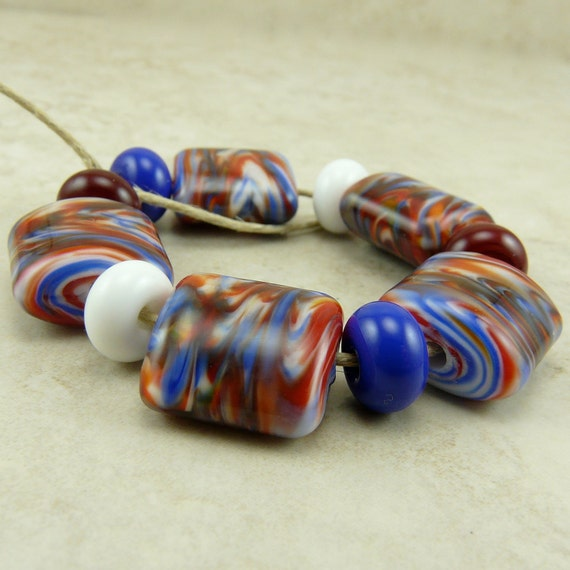 Patriotic Red White And Blue Lampwork Beads - Independence Day Election Caucus 4th of July Lampwork Bead Set SRA I ship Internationally 010