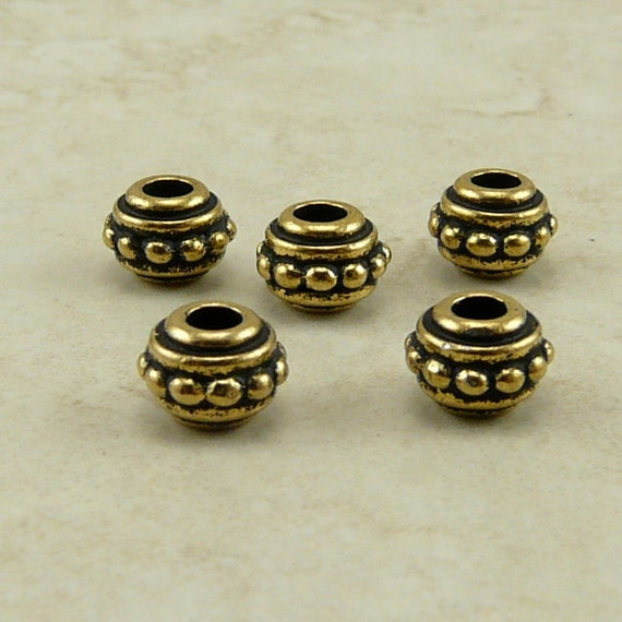 5 TierraCast 7mm Beaded Large Hole Beads > 22kt Gold Plated Lead Free Pewter - I ship Internationally 5547