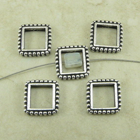 5 TierraCast 8mm Square Beaded Bead Frames - Fine Silver Plated LEAD FREE pewter - I ship internationally 5658