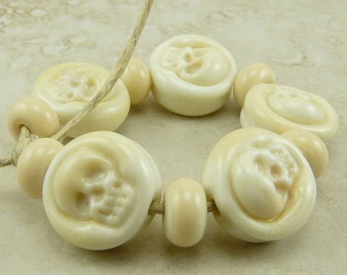 Featured listing image: Them Bones > Ivory Skull Skeleton Beads Petite Lentil Lampwork Bead Set Day of the Dead Halloween Goth Gothic - SRA - I ship Internationally