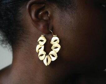 Sculptured Organic Reticulated Gold Hoop Earring