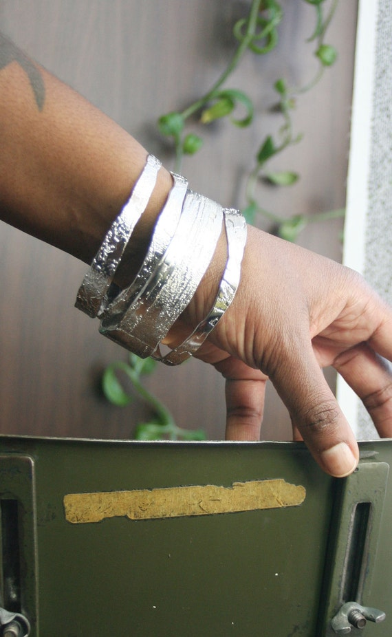 Large Etched Silver Toned Bangle - Free Shipping