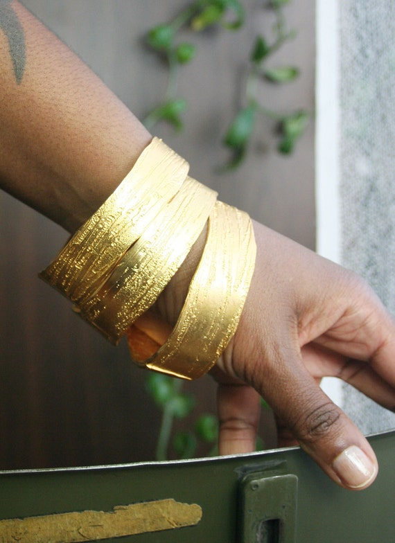 Large Etched Gold Plated Bangle