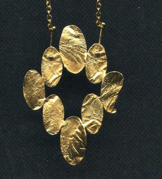 Reticulated Brass Pendant with 22kt Gold Plating