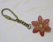 Pink Lucite Flower Keyring
