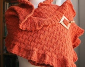 Winter Fashion - Rococo Knit Shawl - Original Design by Elena Rosenberg - Tangerine Tango