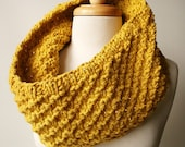 Chunky Cowl. Fall Winter Fashion. Oversized Knit Merino Wool Neckwarmer Scarf. Mustard Yellow