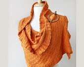 Women Fashion Accessories - Rococo Knit Shawl / Wrap - Pumpkin Orange - Bamboo and Silk