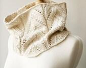 Fall Winter Fashion - Knit Cowl - Women's Neckwarmer Scarf in Baby Alpaca & Silk - White Ivory