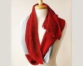 Women Fashion Accessories - Color Block Luxurious Silk Scarf - Infinity Scarf - Red and Silver