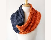 Colorblock Knit Scarf - Merino Wool Cowl - Spring Fashion - Grey and Orange - TickledPinkKnits