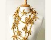 Fall Fashion - Wearable Fiber Art Jewelry - Pure Silk - Crochet Necklace / Lariat - Golden Yellow Color