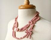 Wearable Fiber Art Jewelry - Silk Crocheted Lace Necklace / Lariat - Pastel Pink Blush