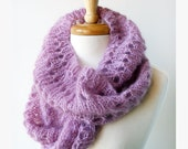 Fall Winter Spring Fashion - Knit Snood Scarf - Mohair and Silk Cowl - Lilac Lavender