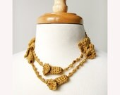 Crochet Jewelry - Wearable Fiber Art Necklace / Lariat No. 12 - Golden Yellow