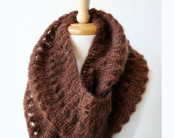 Infinity Scarf - Women Winter Accessories - Knit Cowl Scarf - Kid Mohair and Silk - Chocolate Brown - Hygge