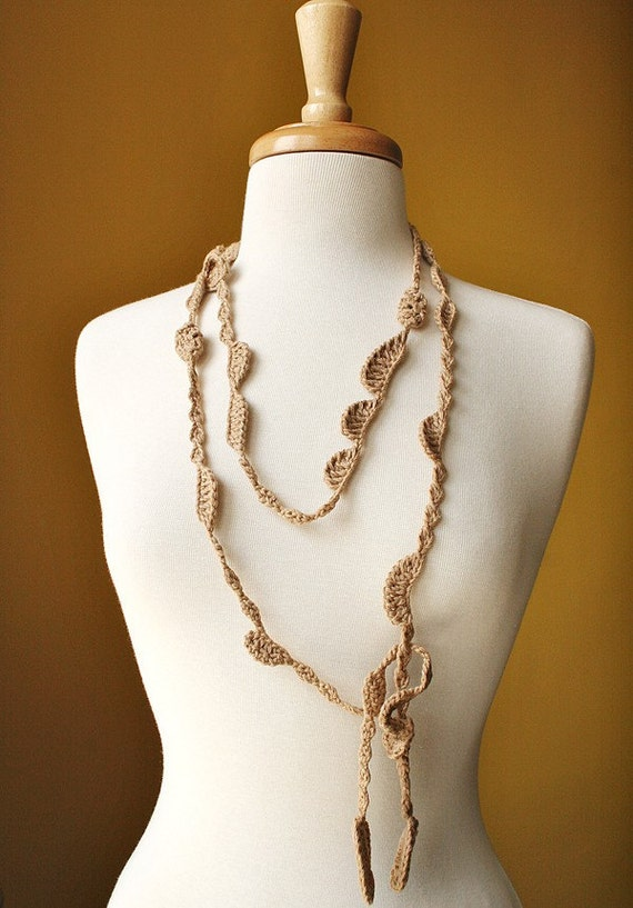 Sea Kelp Collection - No. 11 - Organic Cotton Crocheted Necklace / Lariat - Ready to Ship
