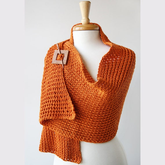 Luxurious Knit Wrap - Merino Wool and Cashmere Knit Shawl - Pumpkin Tangerine Color