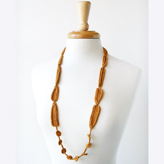 SAMPLE SALE - Contemporary Art Jewelry - Wearable Fiber Art Silk Crocheted Necklace / Lariat No. 12 - Honey Caramel
