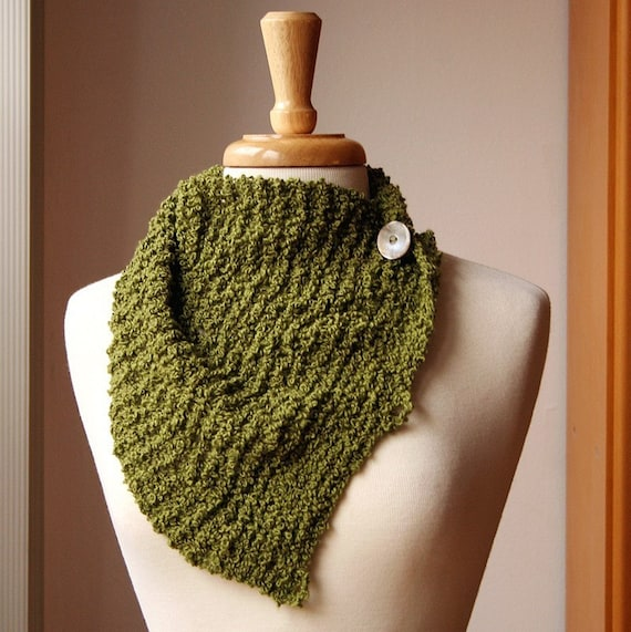 Claudine Knit Scarflette - Palm Green - Luxurious Merino and Cashmere Boucle Blend - Custom COLORS