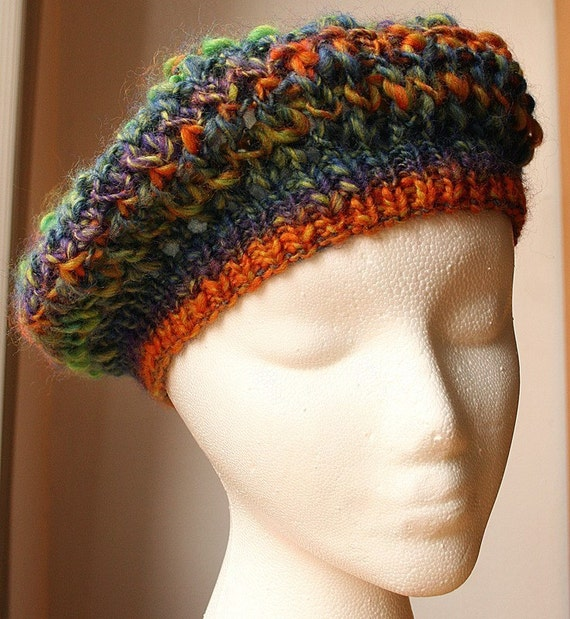 The Mighty Light Hat - Wool Blend Knit Beret \/ Tam - Custom COLORS