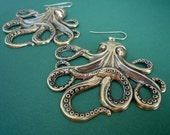 awesome extra large gold octopus earrings