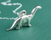 sterling silver dinosaur necklace brontosaurus gift for her