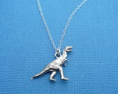 silver tyrannosaurus rex dinosaur necklace