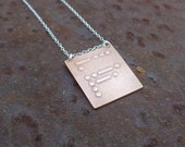 "etched copper morse code pendant with sterling silver chain ""be free"" graduation gift for her"