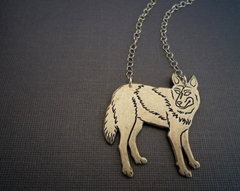 golden wolf necklace | gold wolf | statement necklace | 14kt gold filled chain