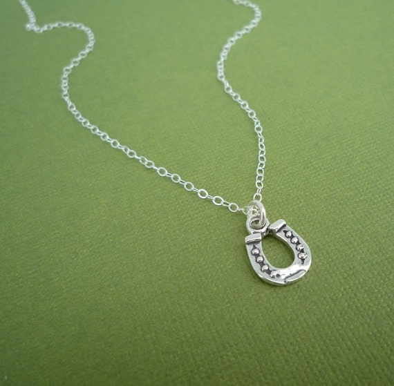 sterling horse shoe charm necklace SALE