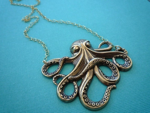 awesome gold octopus necklace 14kt gold filled chain